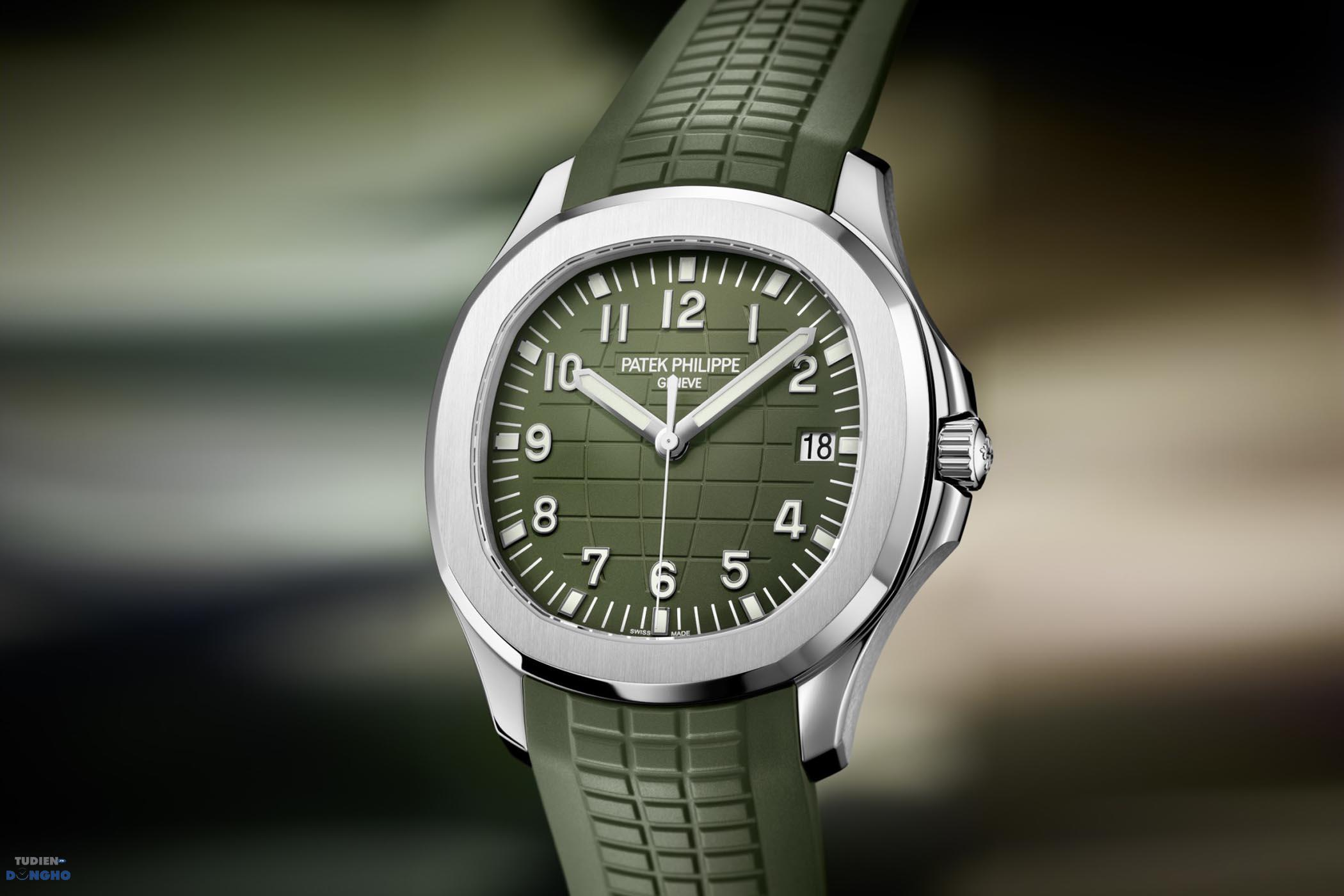 Patek Philippe Aquanaut Jumbo White Gold 5168G now in Khaki Green