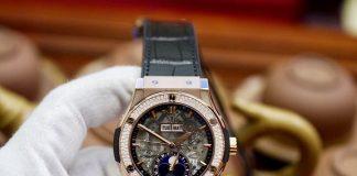 Hublot Classic Fusion Aerofusion Moonphase King Gold Diamonds Ref: 517.OX.0180.LR.1104