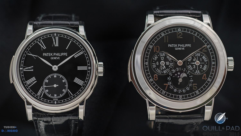 Patek Philippe ref. 5074P bên phải và ref. 5078P trái