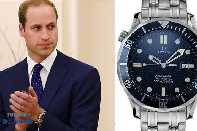 Hoàng tử Anh William cũng đeo dòng đồng hồ Omega.