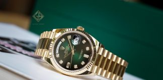 Bán đồng hồ Rolex Day-Date 128238 Mặt Số Ombre Xanh Lá