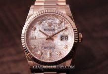 Hồ Rolex Day-Date 36 118235 Mặt Số Vi Tính Hồng